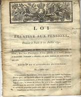 1791 REVOLUTION  RARE LOI RELATIVE AUX PENSIONS TEXTE A VOIR ET A ETUDIER - Decrees & Laws