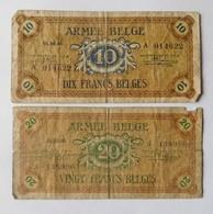 2 Billets Armée Belge 1946 / Belgisch Leger 10 & 20 Francs / Frank - [ 3] German Occupation Of Belgium