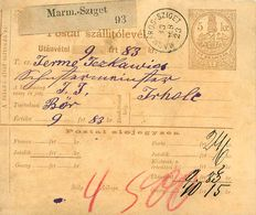 Postai Szatellitolevél 5 Kr - MARMAROS SZIGET  1883 - Pacchi Postali