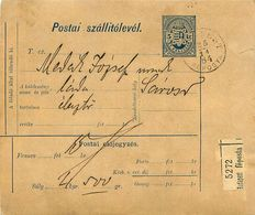 Postai Szatellitolevél 5 Kr - BUDAPEST 1884 SAROSD - Pacchi Postali