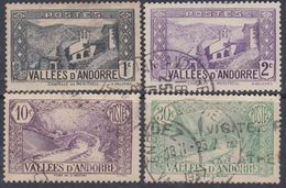Andorre N° 24 / 25 + 28 + 32 O Paysages De La Principauté, Partie De Série : Les 4 Valeurs Oblitérées Sinon TB - Andorre Français