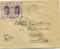 """REUNION LETTRE RECOMMANDEE PAR AVION AVEC CACHET """"100e LIAISON.....LA REUNION-MADAGASCAR"""" DEPART SAINTE-MARIE 29-3-47... - Réunion (1852-1975)"""