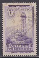 Andorre N° 37 O Paysages De La Principauté, Partie De Série : 75 C. Violet Oblitération Faible Sinon TB - Andorre Français