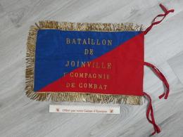 FANION BATAILLON DE JOINVILLE. 1ére Cie DE COMBAT. BRODE CANETILLE EXCELLENT ETAT. 50X30CM - Drapeaux