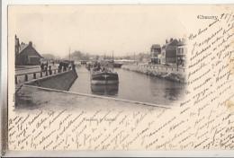 CHAUNY            VUE SUR LE CANAL.     PENICHE          PRECURSEUR - Chauny