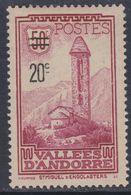 Andorre N°  46 X  Timbre Surchargé : 20 C. Sur 50 C. Lie-de-vin Trace De Charnière Sinon TB - Andorre Français