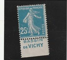 France N° 140 Avec Pub Sans Charniére ** Bassin De Vichy RRR - Advertising