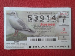 SPAIN ESPAGNE DÉCIMO DE LOTERÍA NACIONAL NATIONAL LOTTERY FAUNA FAUNE GAVIOTA REIDORA SEAGULL MOUETTE LOTERIE 2013 VER F - Lottery Tickets