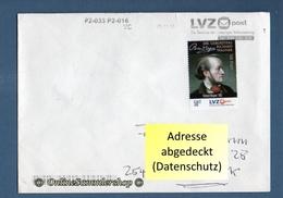 BRD - Privatpost - Umschlag - LVZ / Nordbrief - Marke: 200. G. R. Wagner / Rückseite: Stempel - Privatpost
