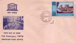 Pakistan Fdc 1972 Save Artistic Heritage Of Venice - Pakistan