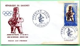 FDC Enveloppe 1er Jour DAHOMEY ( BENIN ) 20/11/68 Jeux Olympiques Mexico 1968 Joueur De Pelote - Benin - Dahomey (1960-...)