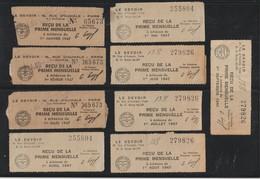 LE DEVOIR - Assurances Populaires .Caisse De Retraite - Année 1947 - 9 Reçus De La Prime Mensuelle - Scannes Face & Dos - Vieux Papiers
