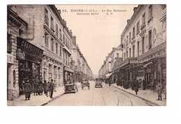 37 Tours La Rue Nationale Cpa Carte Animée Animation Vieille Voiture Auto Chapellerie Cachet Daguin - Tours