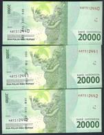 Indonesia - 20000 Rupiah 2016 X 3 Pcs. Consecutive Serial Nr. - P-158 - Indonesia