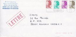 L4J208 Lettre Affr Composé 1,80f Lys Lez Lannoy Pour Roubaix Nord  1983/ Env. - 1982-90 Liberté De Gandon