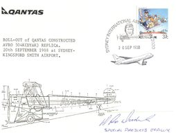 (400) Australia FDC Cover - QANTAS Avro Replica Roll Out (signed By Project Manager) 1988 - Airplanes
