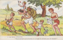 Sports - Marche Randonnée En Famille - Jeux - Moulin à Café - Cachet Postal Lucquy  1959 - Postkaarten
