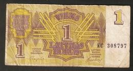 T. Latvia 1 Rubel Rublis Rouble 1992 Ser. KC 308797 - Latvia