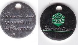 Publicité Jetons De Caddies Chasseur De France Fédération De L'Aube - Trolley Token/Shopping Trolley Chip