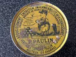 Belle Boite En Fer Adoucissement, Entretien, Imperméabilité De La Chaussure  P. PAULIN Tanneur  Saint-Claude (Jura) - Boîtes