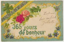 Tres Belle Carte Gaufrée Fleurs Roses En Soie Silk  Trefle 4 Feuilles Porte Bonheur Vers Neuvelle Les La Charité 70 - Fiori