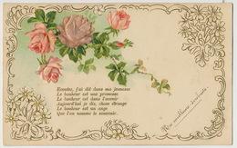 Tres Belle Carte Gaufrée Fleurs Roses En Soie Silk  Vers St Dyé Sur Loire 41 - Flowers