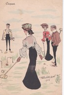Carte Précurseur 1900 Signé Félix Jobbe Duval / JOUEUR DE CROQUET - Other Illustrators