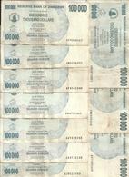 ZIMBABWE 100000  DOLLARS  BEARER CHEQUE  2006 VF P 48 B ( 10 Billets ) - Zimbabwe