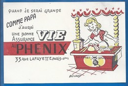 BUVARD  ILLUSTRÉ - ASSURANCE VIE PHÉNIX - COMME PAPA - AU MINET GOURMAND... - Buvards, Protège-cahiers Illustrés