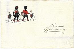 Heureuse Anniversaire - Postmark 1954 - Begro (B&R) - Children Beetles Silhouette - Holidays & Celebrations