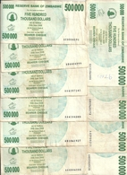 ZIMBABWE 500000  DOLLARS  BEARER CHEQUE  2007 VF P 51 ( 10 Billets) - Zimbabwe