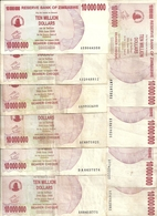 ZIMBABWE 10 MILLION DOLLARS 2008 VF P 55 ( 10 Billets ) - Zimbabwe