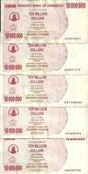 ZIMBABWE 10 MILLION DOLLARS 2008  VF P 55 ( 5 Billets ) - Zimbabwe