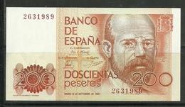 ESPAÑA BILLETE DE 200 Pts. SIN SERIE MADRID 16 DE SEPTIEMBRE DE 1980  MBC. - [ 4] 1975-… : Juan Carlos I