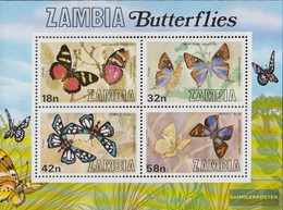 Sambia Block10 (complete.issue.) Unmounted Mint / Never Hinged 1980 Butterflies - Zambia (1965-...)