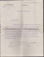 """1916 Autographe De Lucien Victor Meunier Sur Lettre Dactylographiée En Tete """"Journal La France"""" - Autografi"""