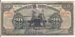 BOLIVIE 20 BOLIVIANOS ND1929 VG+ P 115 - Bolivie