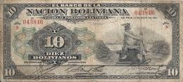 BOLIVIE 10 BOLIVIANOS 1911 VG+ P 107 B - Bolivie