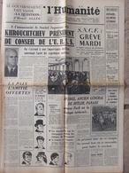 Journal L'Humanité (28 Mars 1958) Khrouchtchev - Grève - Espagne - Vallaurie Fresque Picasso - 1950 - Nu