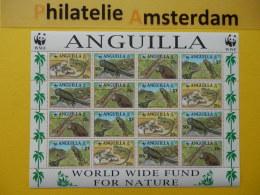 Anguilla 1997, WWF FAUNA GREEN IGUANA: Mi 988-91, ** KB - Ungebraucht