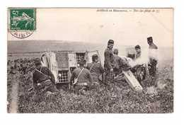 Militaire Manoeuvres Artillerie Tirs Des Pieces De 75 Tir Piece Cpa Cachet 1908 - Manoeuvres