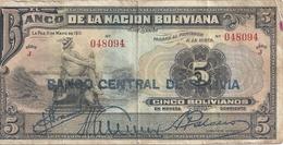 BOLIVIE 5 BOLIVIANOS ND1929 VG+ P 113 - Bolivie
