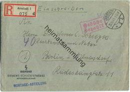 Einschreibebrief Aus Arnstadt 1 Vom 25.10.1945 Mit 'Gebühr Bezahlt' Stempel In Violett '42' - Zone Soviétique
