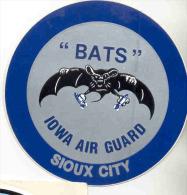 BATS-IOWA-AIR GUARD-SIOUX-CITY--STICKER -AUTOCOLLANT-ORIGINAL-RARE-NOT USED-PERFECT CONDITION ! ! ! - Aviation