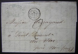 1850 Bourg Charente, Cachet De Cognac, Lettre De A. Bonnin à Propos D'eau De Vie. - Marcophilie (Lettres)