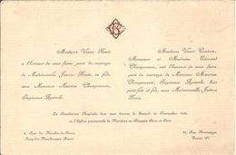92 ISSY-les-MOULINEAUX Et PARIS 8e - Faire-Part De Mariage Entre Maurice CHAMPONNOIS Et Jeanne BOUTI - 20 Novembre 1926 - Mariage