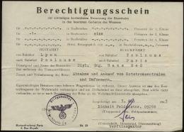 P0244 - DR Frankreich Militär Kriegsmarine , Torpedoarsenal, Berechtigungsschein , Bahnfahrt: Gebraucht Lyon - Paris 1 - Allemagne