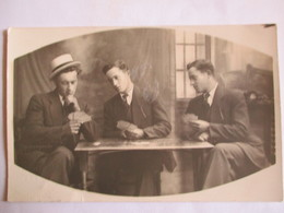 Jeu De Cartes - Carte Photo  Trio De  Joueurs De Cartes - TBE - Playing Cards