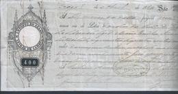 Letra De Câmbio Valor De 400 Réis Com A Efigie De D. Luíz Com Venc. A 1884. 2 Selos De 10 E 50 Réis De Endosso.Braga.3s - Bills Of Exchange