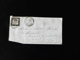 FACADE DE LETTRE POUR GRIGNEUSEVILLE  -  1865  -  TAXE  15 CENTIMES  A PERCEVOIR - Marcophilie (Lettres)